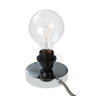 Posaluce, the chrome metal table lamp for lampshade, with textile cable, switch and plug