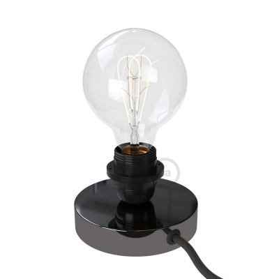 Posaluce, the black pearl metal table lamp for lampshade, with textile cable, switch and plug