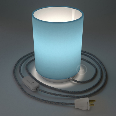 Posaluce with Blue Canvas Cylinder lampshade, white metal, with textile cable, switch and plug