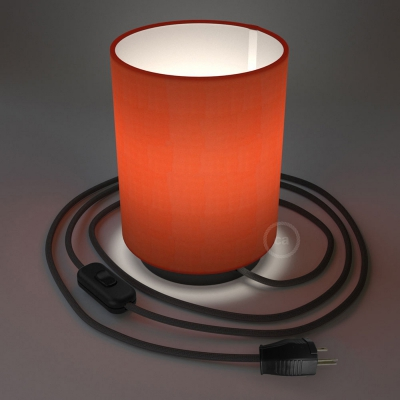Posaluce with Lobster Cinette Cylinder lampshade, black metal, with textile cable, switch and plug