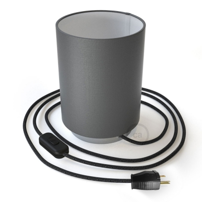 Posaluce with Penguin Electra Cylinder lampshade, chrome metal, with textile cable, switch and plug
