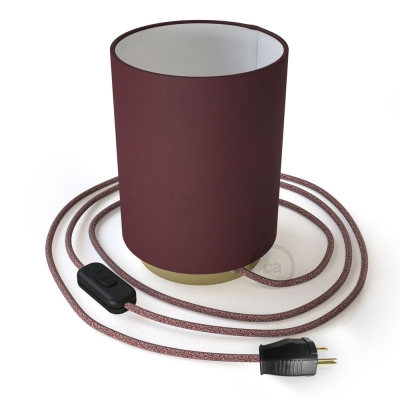 Posaluce with Burgundy Canvas Cylinder lampshade, brass metal, with textile cable, switch and plug