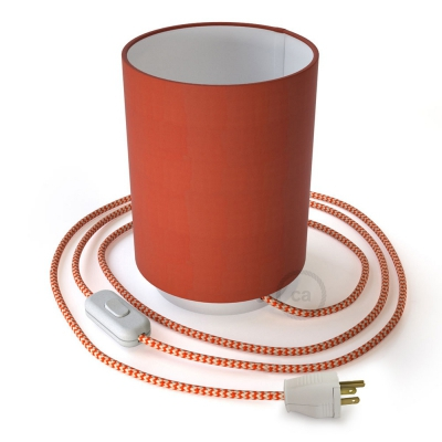 Posaluce with Lobster Cinette Cylinder lampshade, white metal, with textile cable, switch and plug