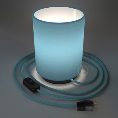 Posaluce with Blue Canvas Cylinder lampshade, black metal, with textile cable, switch and plug
