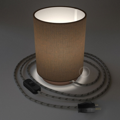 Posaluce with Brown Camelot Cylinder lampshade, coppered metal, with textile cable, switch and plug