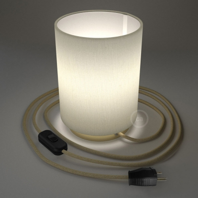 Posaluce with White Raw Cotton Cylinder lampshade, brass metal, with textile cable, switch and plug