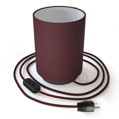 Posaluce with Burgundy Canvas Cylinder lampshade, black pearl metal, with textile cable, switch and plug