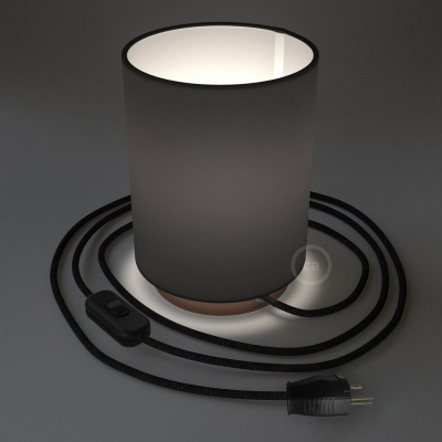 Posaluce with Black Canvas Cylinder lampshade, coppered metal, with textile cable, switch and plug