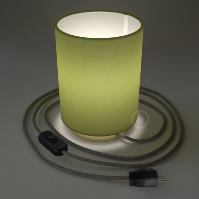 Posaluce with Olive Green Canvas Cylinder lampshade, brass metal, with textile cable, switch and plug