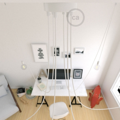 Spider, multiple suspension with 6 pendants, white metal, RM01 White cable