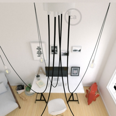 Spider, multiple suspension with 5 pendants, white metal, RM04 Black cable