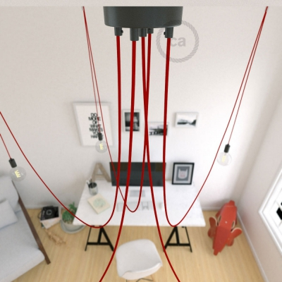 Spider, multiple suspension with 5 pendants, black metal, RM09 Red cable