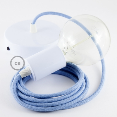 Single Pendant, suspended lamp with Baby Blue Cotton textile cable RC53