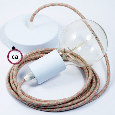Single Pendant, suspended lamp with Natural & Pink Linen Stripe textile cable RD51