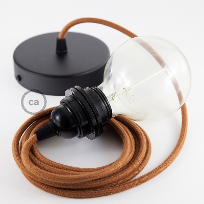 Pendant for lampshade, suspended lamp with Rust Cotton textile cable RC23