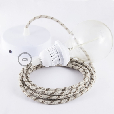 Pendant for lampshade, suspended lamp with Natural & Brown Linen Stripe textile cable RD53