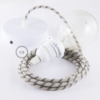 Pendant for lampshade, suspended lamp with Natural & Charcoal Linen Stripe textile cable RD54