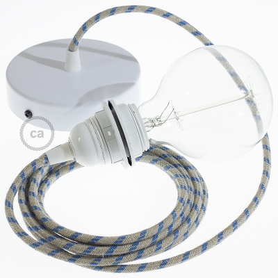Pendant for lampshade, suspended lamp with Natural & Blue Linen Stripe textile cable RD55