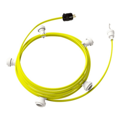 Ready-to-use 25ft String Light with Rayon Fabric Cable Yellow Fluo CF10 Kit with 5 Sockets, Hook and Plug