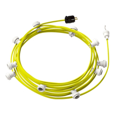 Ready-to-use 40ft String Light with Rayon Fabric Cable Yellow Fluo CF10 Kit with 10 Sockets, Hook and Plug