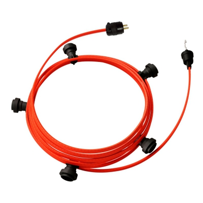 Ready-to-use 25ft String Light with Rayon Fabric Cable Orange Fluo CF15 Kit with 5 Sockets, Hook and Plug
