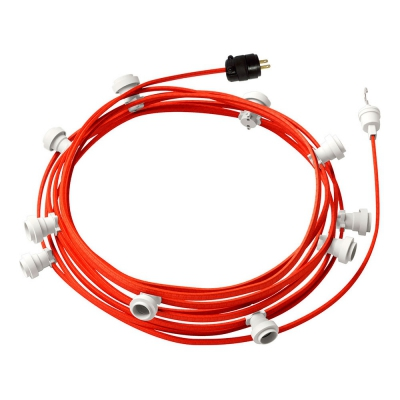 Ready-to-use 40ft String Light with Rayon Fabric Cable Orange Fluo CF15 Kit with 10 Sockets, Hook and Plug