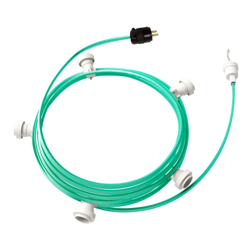 Ready-to-use 25ft String Light with Rayon Fabric Cable Opal CH69 Kit with 5 Sockets, Hook and Plug