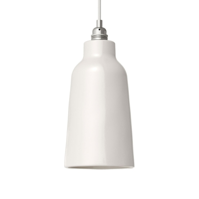 Gloss White Materia Ceramic Bottle Lamp Shade, polished white inside, Hand Made in Italy