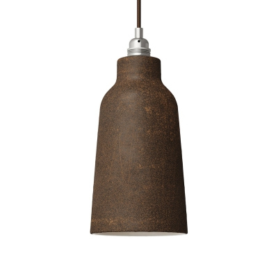 Rust Materia Ceramic Bottle Lamp Shade, polished white inside, Hand Made in Italy