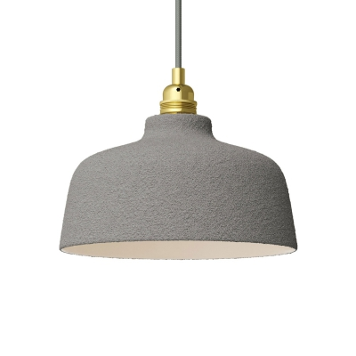 Cement Materia Ceramic Cup Lamp Shade, polished white inside, Hand Made in Italy