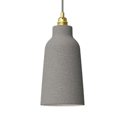 Cement Materia Ceramic Bottle Lamp Shade, polished white inside, Hand Made in Italy