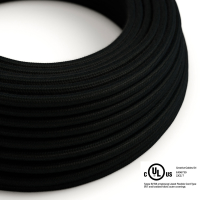 Black Cotton covered Round electric cable - RC04