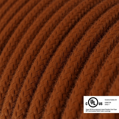 Rust Cotton covered Round electric cable - RC23