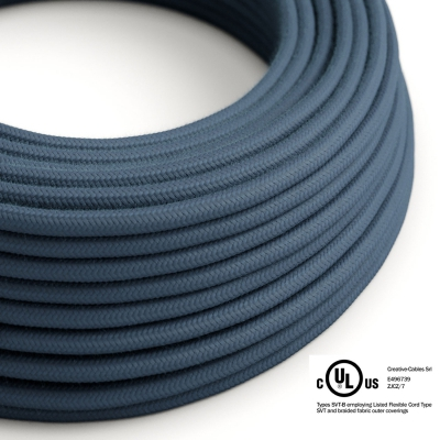 Stone Blue Cotton covered Round electric cable - RC30