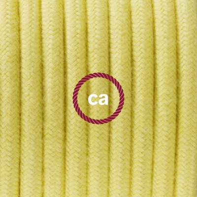 Porcelain Pendant, suspended lamp with Pale Yellow Cotton textile cable RC10
