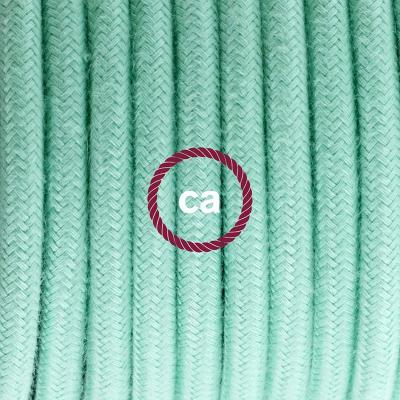 Porcelain Pendant, suspended lamp with Mint Green Cotton textile cable RC34