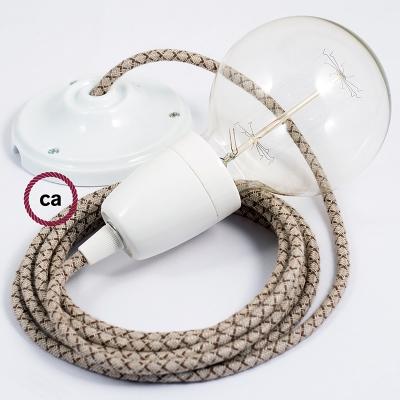 Porcelain Pendant, suspended lamp with Natural & Brown Linen CrissCross textile cable RD63