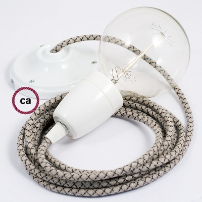 Porcelain Pendant, suspended lamp with Natural & Charcoal Linen CrissCross textile cable RD64