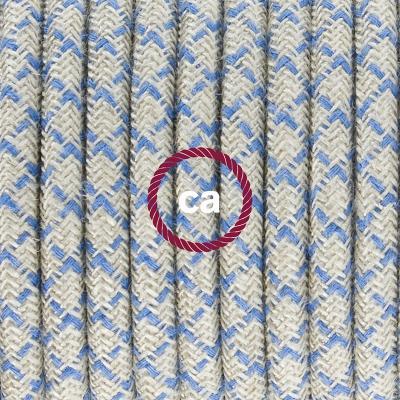 Porcelain Pendant, suspended lamp with Natural & Blue Linen CrissCross textile cable RD65