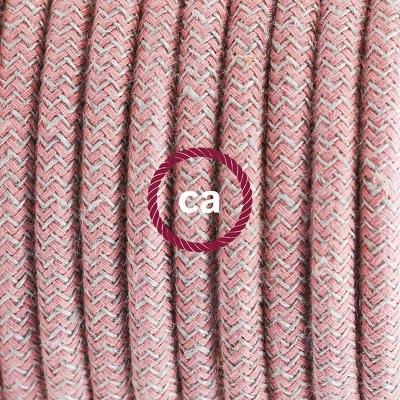 Porcelain Pendant, suspended lamp with Natural & Pink Linen Chevron textile cable RD71