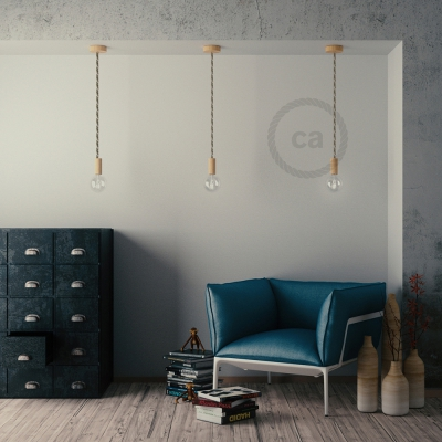 Wooden Pendant, suspended lamp with nautical rope XL in raw cotton and natural linen, Made in Italy