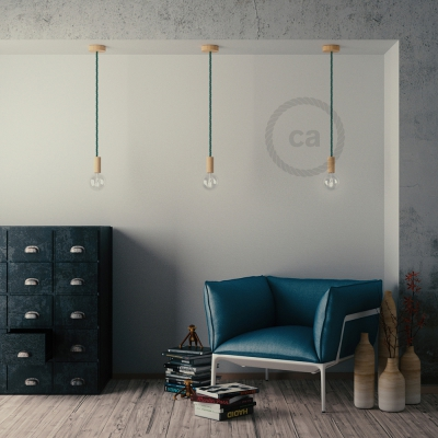 Wooden Pendant, suspended lamp with nautical rope XL in dark shiny green fabric, Made in Italy