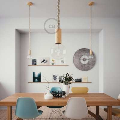 Wooden Pendant, suspended lamp with nautical rope 2XL in raw cotton, Made in Italy