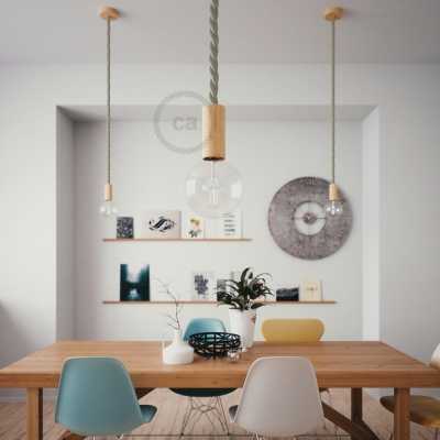 Wooden Pendant, suspended lamp with nautical rope 2XL in natural linen, Made in Italy