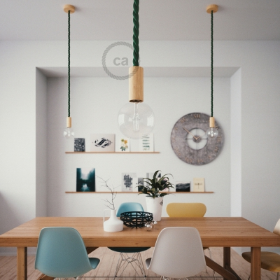 Wooden Pendant, suspended lamp with nautical rope 2XL in dark shiny green fabric, Made in Italy