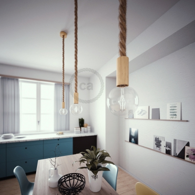 Wooden Pendant, suspended lamp with nautical rope 3XL in raw jute, Made in Italy