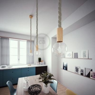 Wooden Pendant, suspended lamp with nautical rope 3XL in natural linen, Made in Italy