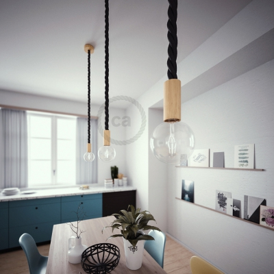 Wooden Pendant, suspended lamp with nautical rope 3XL in black shiny fabric, Made in Italy