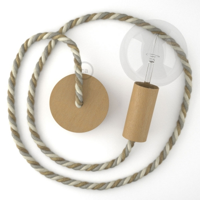 Wooden Pendant, suspended lamp with nautical rope XL in jute, cotton and linen Country, Made in Italy