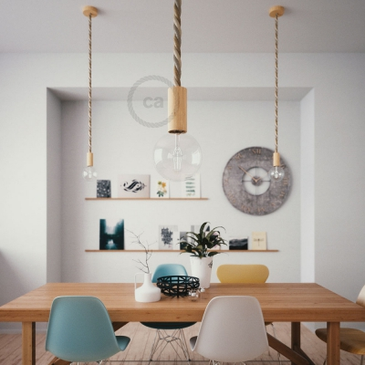 Wooden Pendant, suspended lamp with nautical rope 2XL in jute, cotton and linen Country, Made in Italy